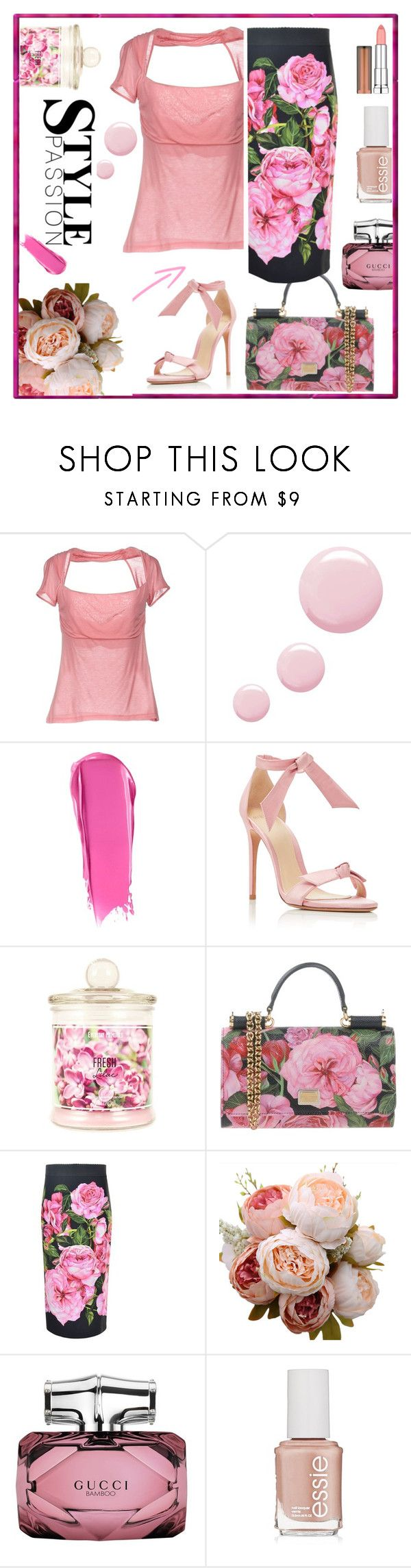 """Pink wave"" by sara-cdth ❤ liked on Polyvore featuring RED Valentino, Topshop, Liberty, Alexandre Birman, Dolce&Gabbana, Gucci, Essie and Maybelline"