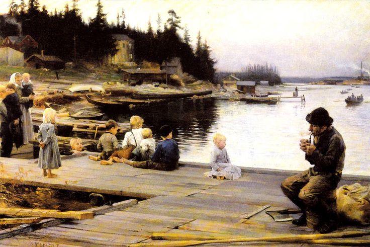 Kuva albumissa ALBERT EDELFELT - Google Kuvat.  Lauantai-ilta Hamarissa, 1885.   Kööpenhaminan keskusmuseo.  Sävypaino, iso kortti.