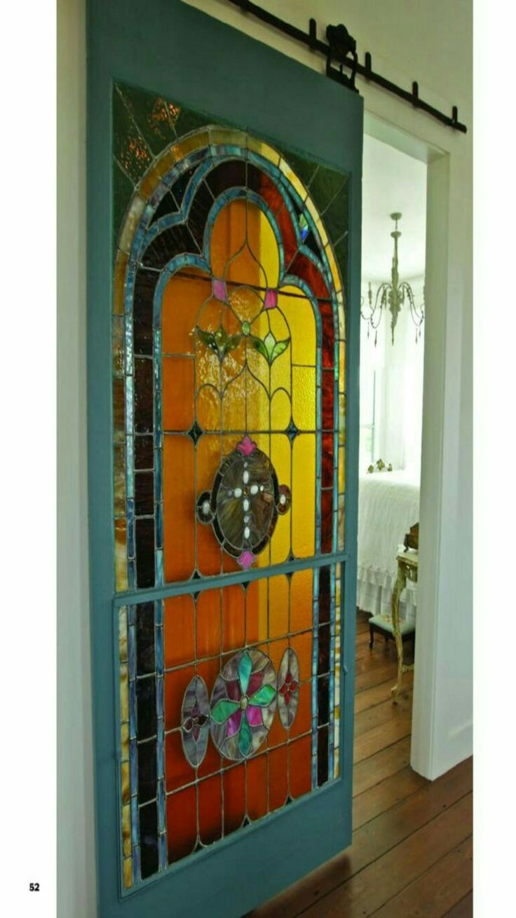 Colorfull cross stained glass sliding door.