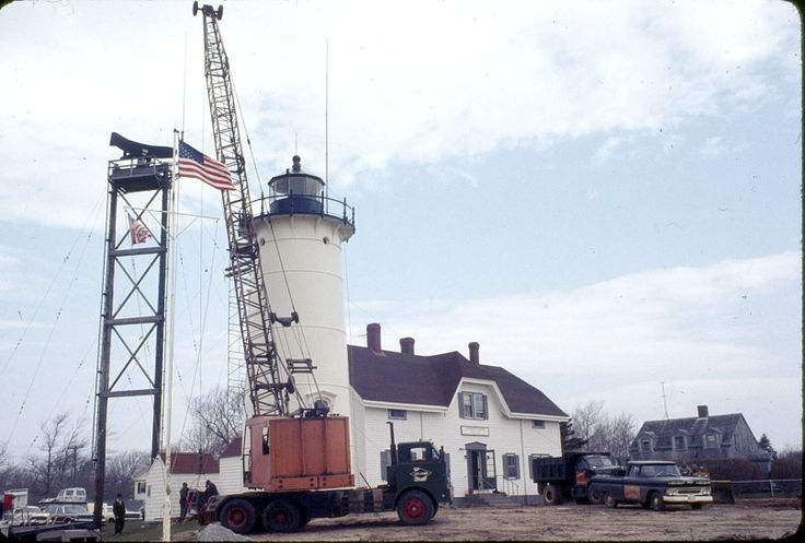 From the archives of Chatham Historical Society: Photograph taken May 1969. In 1969 Chatham Historical Society was offered the Chatham Light's original lantern room. This photo shows removing lantern room and Fresnel lends in preparation of installing the new aero beacon light for the lighthouse. The  lantern room and lens were moved to grounds of Atwood House Museum. #atwoodhouse, #chathamlight, #lighthouse, #lanternroom, #fresnel, #turret, #chathamhistoricalsociety, #chatham, #capecod