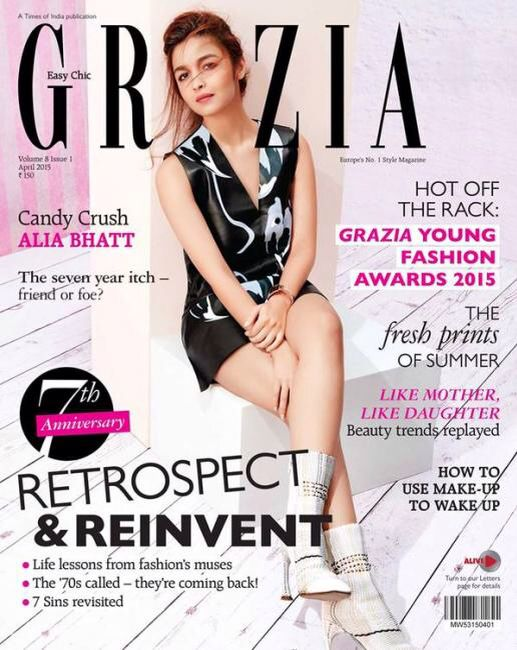 Alia Bhatt has featured on the cover of Grazia for the month of April. The actress is wearing a black and white outfit for the cover. White heeled boots and an orange lip completed her look. Alia is currently busy shooting for Abhishek Chaubey's 'Udta Punjab'. She will also be seen with Shahid Kapoor in Vikas Bahl's 'Shaandaar', which will hit the screens on September 4.