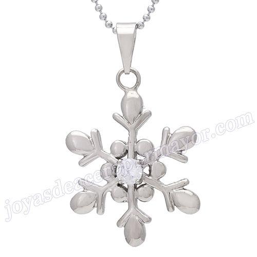 Material:Acero Inoxidable     Nombre: Moda colgante de flor de nieve  de acero inoxidable     Talla: 36*24mm     Weight: 8g