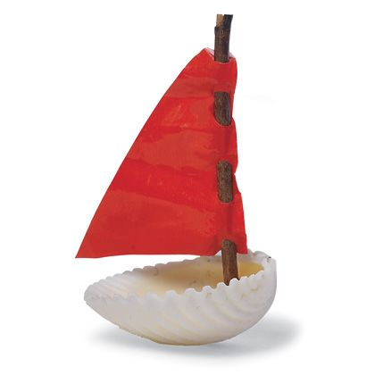 Make a boat from a shell, stick, and felt with a little help from modeling clay!