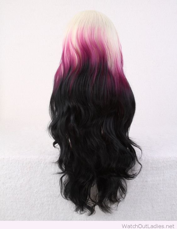 Multi-color purple and white curly hair