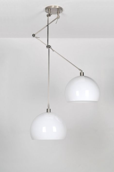 hanglamp 30111: modern, klassiek, design, kunststof, staal , rvs, wit, rond ...