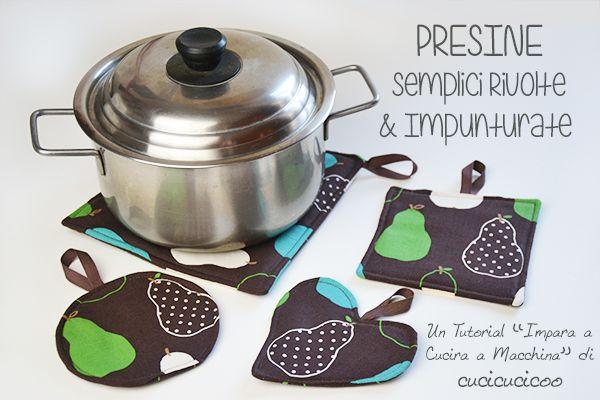 Spiegazioni e cartamodello per cucire presine da cucina facili da fare.