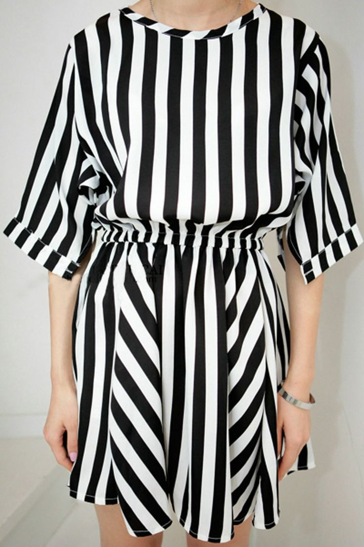 Black and White Stripe Elastic Waist Half Dolman Sleeve Chiffon Dress