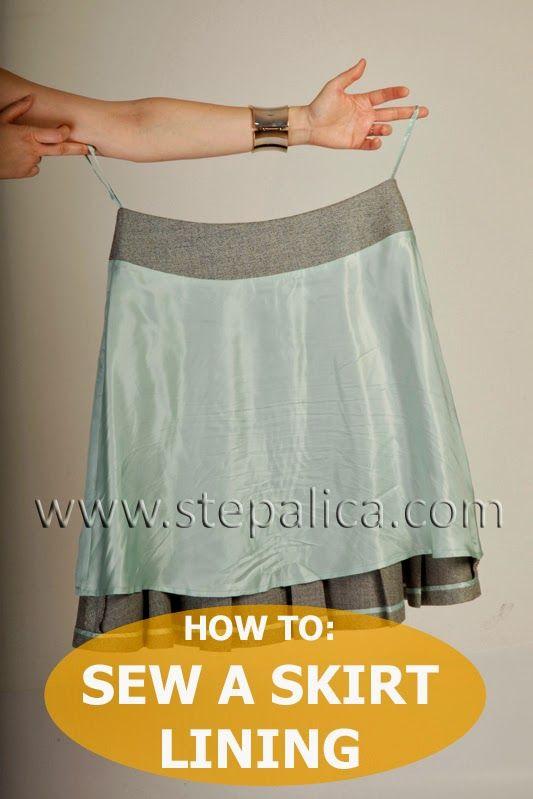 falda:  como colocar el forro .