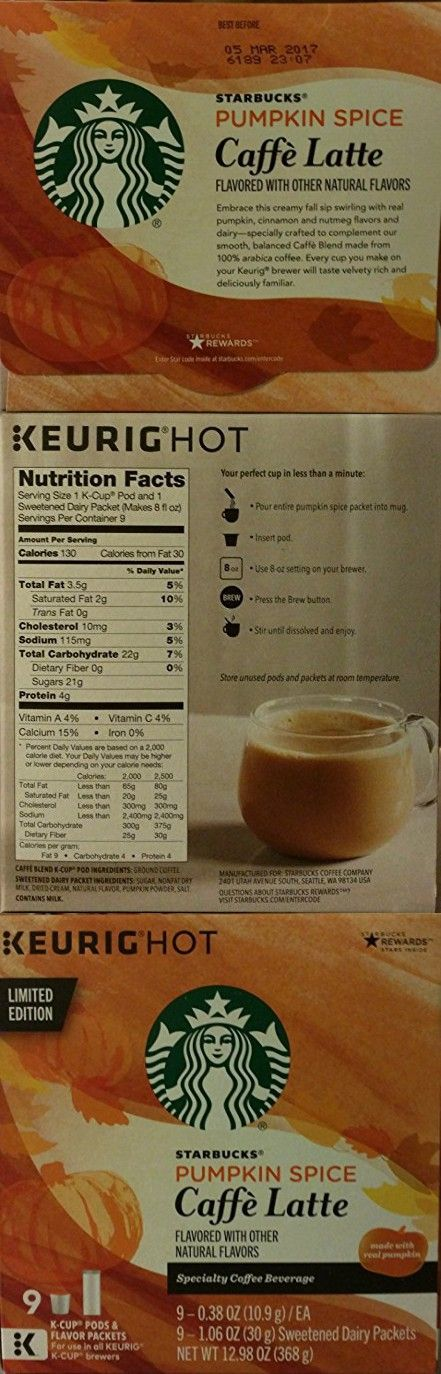 Limited Edition Starbucks Pumpkin Spice Caffe Latte K-cups