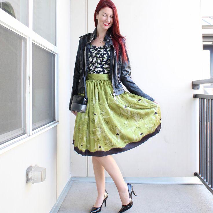 Faux leather jacket via TJ Maxx, H&M bodycon dress, The Oblong Box Shop MCM Fish Novelty Print Gathered Satin Skirt, Kate Spade bag, black Nine West flax pumps.
