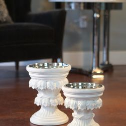 Baroque White Collection for Obelisk Home - For the pet lover with traditional style, these high style elevated dog feeders are adorned with acanthus leaves and rope detailing. Finished in an old world oxidized copper finish and made of resin.. Starting at $28.