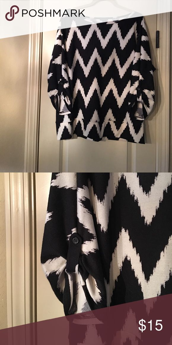 New Directions Knit Chevron Top 3/4 length sleeves with buttons. Very stylish with a long black maxi skirt! New Directions Tops Blouses