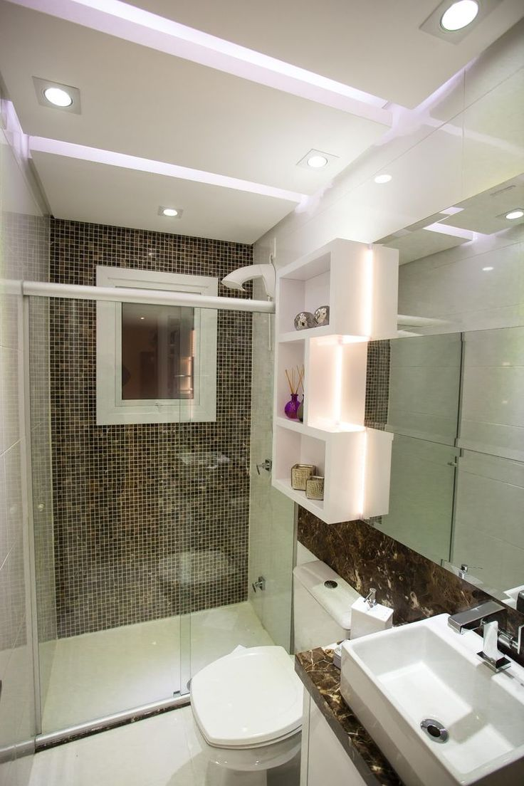 Muro de tijolo a vista fotos e modelos casa constru 237 da - Construindo Minha Casa Clean 30 Banheiros Decorados Com Pastilhas De Vidro Lindas Ideias