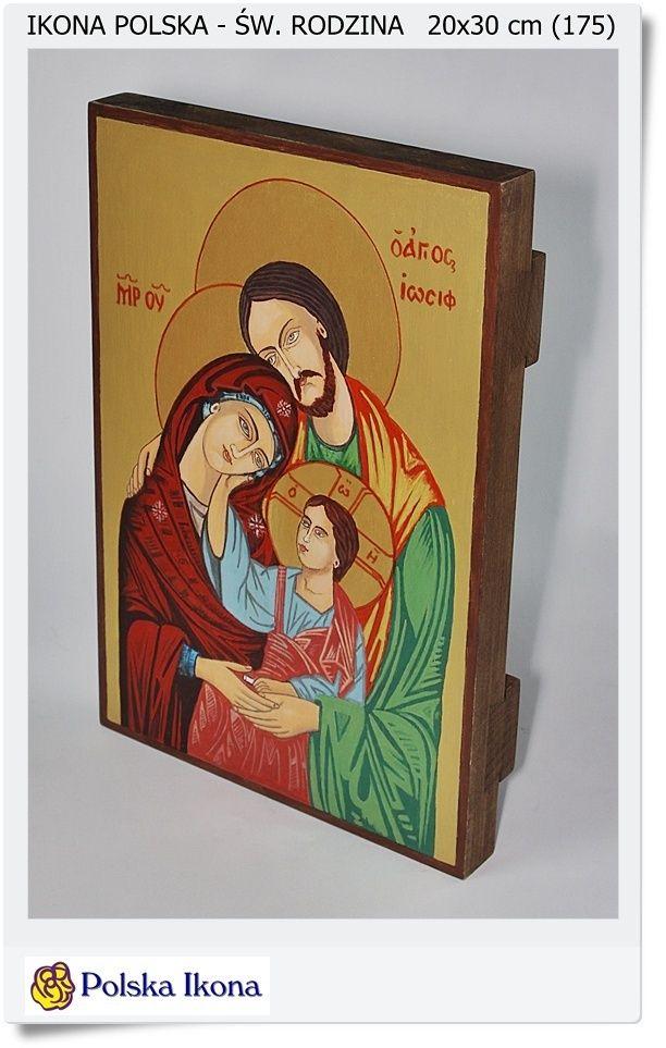 Ikona na desce malowana ( Pisana) Św. Rodzina 20x30 cm