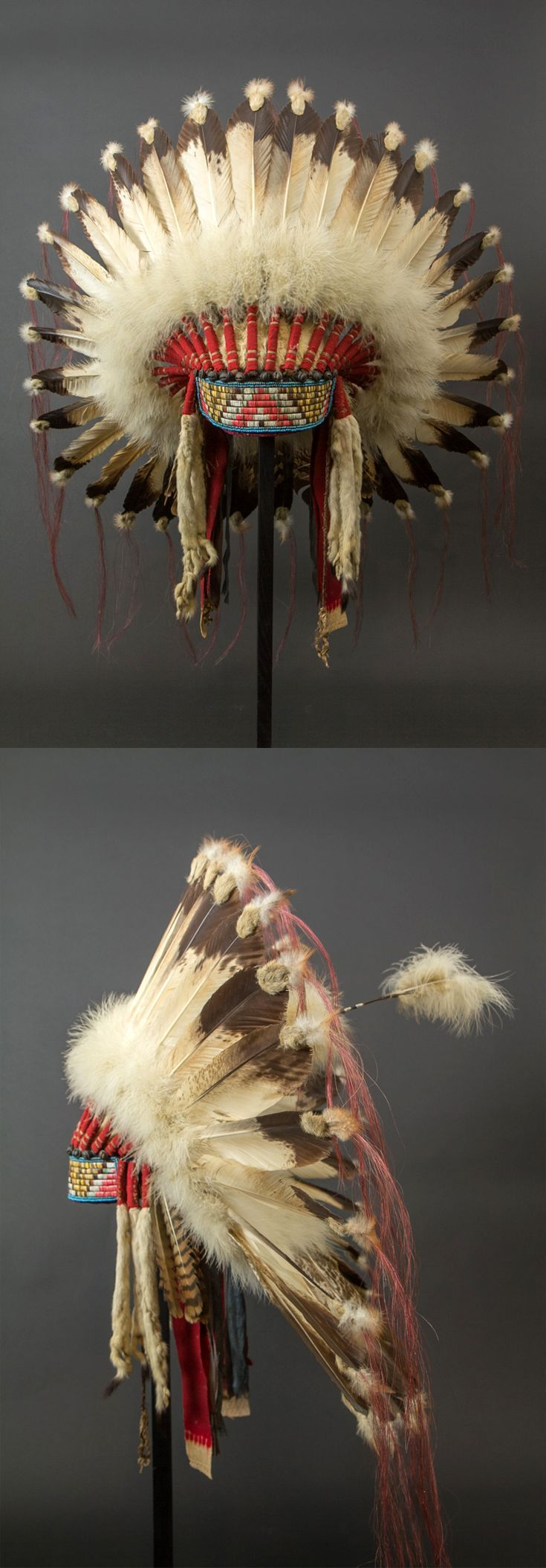 Warrior's headdress | Sioux / Plains Indians (USA) | 32 eagle feathers, horsehair, fabric, beads, quills, fur | ca. 1920 - 1930: