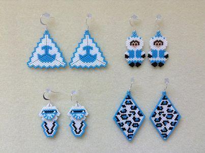 Beaded earrings for sale by Sapina Sinuupaa via Iqaluit Auction Bid FB page