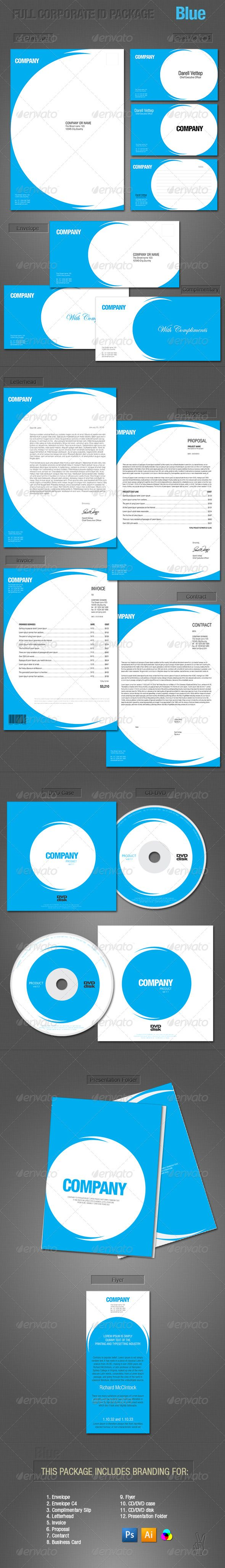 FULL CORPORATE ID PACKAGE - BLUE Corporate Identity is perfect way to create complete corporate style vitally important for any business. This is a High Quality package of complete printer-ready files for all the stationery needs of a business.