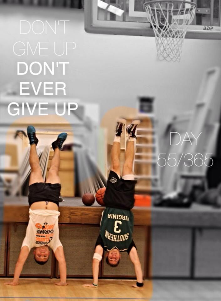 """Day 55/365  In Honor of Coach James Thomas Anthony """"Jim"""" Valvano, 'Jimmy V', and tonight's Jimmy V Foundation Cancer Research Auction – we commemorate Coach V by playing the game he loved, basketball – with our #Cancer Awareness Bracelets.  """"Don't Give Up, Don't Ever Give Up"""" - Coach """"Jim"""" Valvano  #NeverGiveUp #DontEverGiveUp #NoExcuses #JimmyV  #CrossFit #Gymnastics #Handstands #CFGymnastics #365Handstands  #LuluLemon #LuluLemon #SunshineClassic #NutriForce #NFSports"""