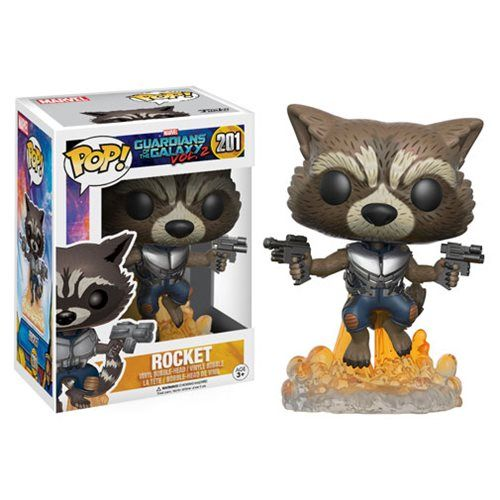 DEAL OF THE DAY Vinyl Rocket Raccoon - Vol. 2! COMING SOON! You've seen the trailer so you know that The Guardians of the Galaxy are back! Rocket Raccoon is here to save the galaxy in Pop! vinyl form. Blasting off and aiming his guns, Rocket Raccoon will remind you why you can't wait for volume 2. Just don't push the button! For more Guardians of the Galaxy action figures visit our Make Mine Marvel Today!!  TO BUY CLICK ON LINK BELOW…