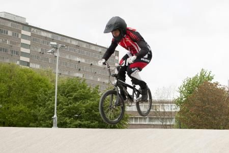 Tre Whyte practising at the new Peckham BMX club track in 2014. Photo Credit: Andy Newbold Photography