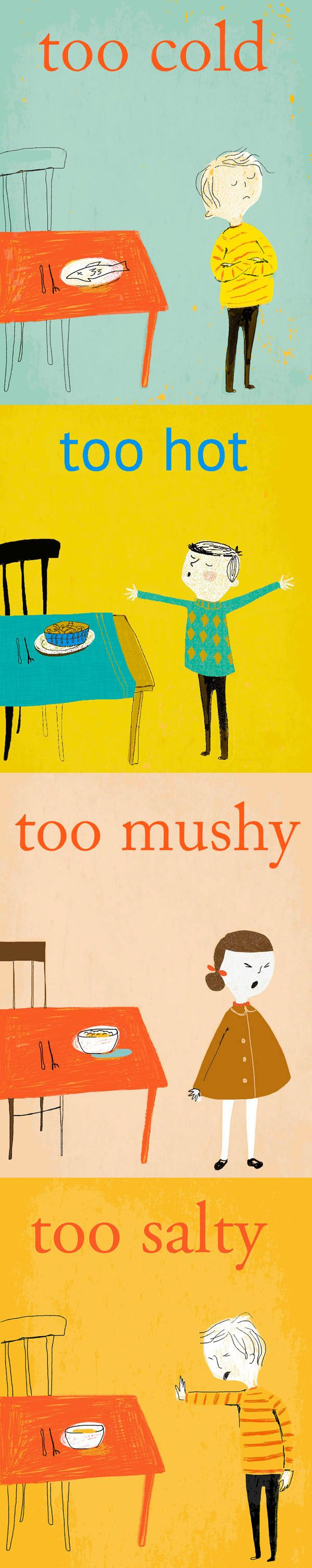 Samantha Cotterill, childern, illustration, funny, colour, retro, too cold, food, editorial, design