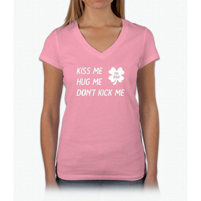 kiss-hug-kick Womens V-Neck T-Shirt