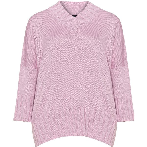 navabi Pink Plus Size V-neck wool blend knit jumper (195 AUD) ❤ liked on Polyvore featuring tops, sweaters, pink, plus size, plus size jumpers, plus size knit sweater, pink jumper, v-neck sweater and plus size sweaters