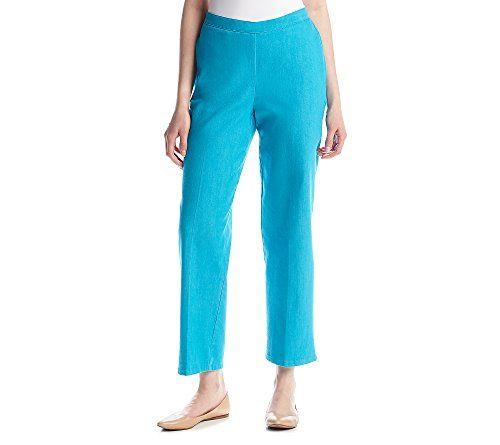 Alfred Dunner Women's Petite Short Pant Elastic Side Pockets, Turquoise, 16P -- For more information, visit image link. #WomensPants