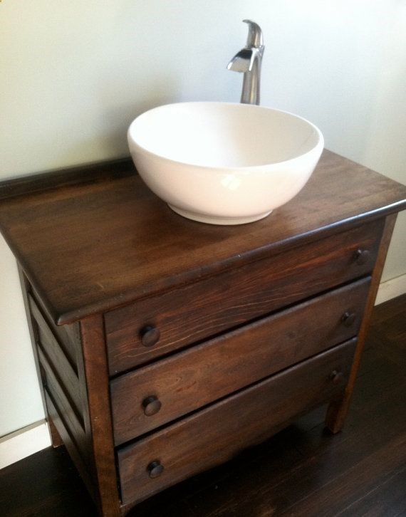 We meticulously restore, refinish, and upcycle quality dressers into vessel sink vanities. Vermont Vanities on Etsy