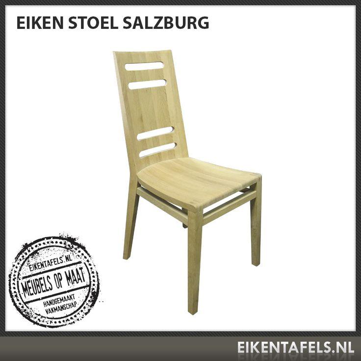 Door de gestroomlijnde vormgeving zit onze eiken stoel Salzburg niet alleen comfortabel, maar is hij ook prachtig om te zien. Door de gaten in de rugleuning is de stoel eenvoudig te verplaatsen. Combineer deze eiken stoel met een van onze eiken tafels en u krijgt een ware blikvanger in uw interieur. De afwerking kunt u precies aanpassen aan uw tafel. Mocht u af willen wijken van de standaard maat dan kunt u dit vermelden wanneer u een offerte aanvraagt.