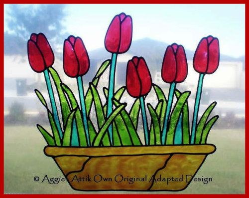 POT OF TULIPS - faux leadlight / stained glass look window cling/decal.