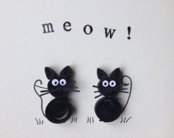 Scheda di gatti quilled, insolito originale, gatti neri, Quilled arte, scheda in bianco