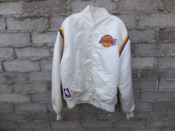Vintage Lakers Jacket White Satin 80s sz by RetroVintageClothing