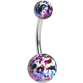 Multicolored Glittery Enameled Discotheque Balls Belly Ring | Body Candy Body Jewelry #BodyCandy