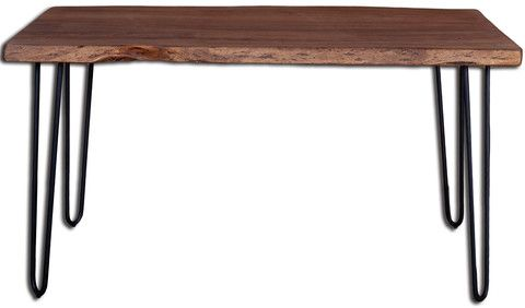Organic Dining Table - This live edge collection incorporates the natural edge of the lumber into the unique design of each piece. The live edges runs the length of the piece, and can vary in size and severity from one example to another.