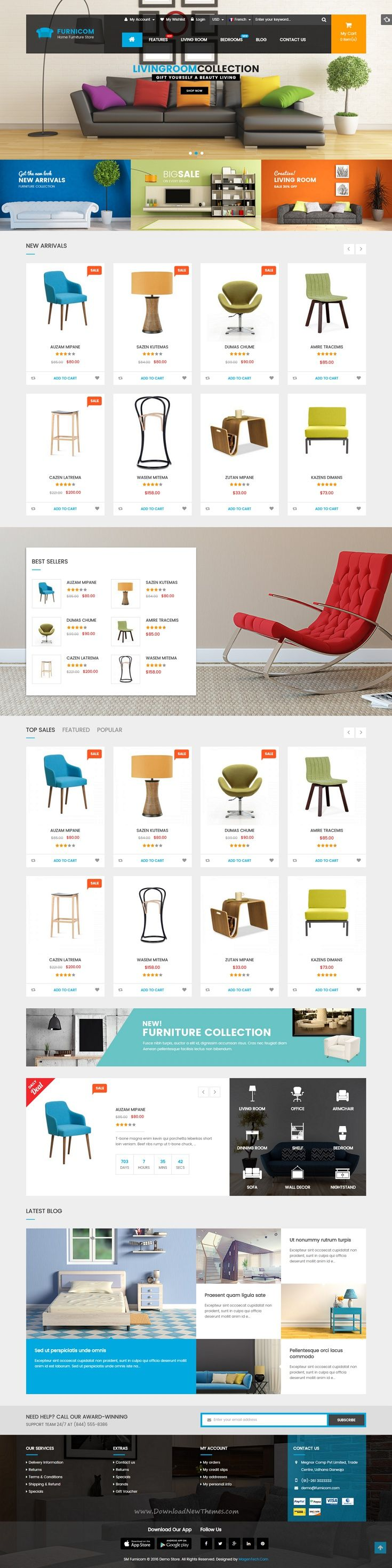 Furnicom modern, luxurious, and professional Premium Responsive Magento Theme comes with 05 homepage layout styles, which tailored for #furniture shop theme, #interior #stores eCommerce website.