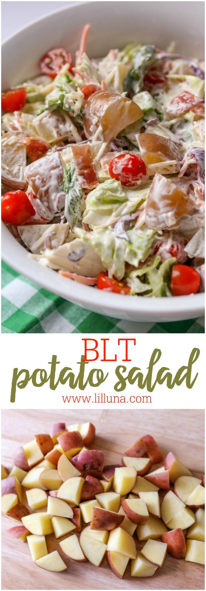 Creamy and delicious BLT Potato Salad filled with salad, potatoes, bacon, lettuce and tomatoes!