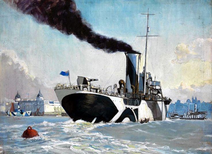 Royal Naval Auxiliary oil tanker off Greenwich, 1918 - John Everett