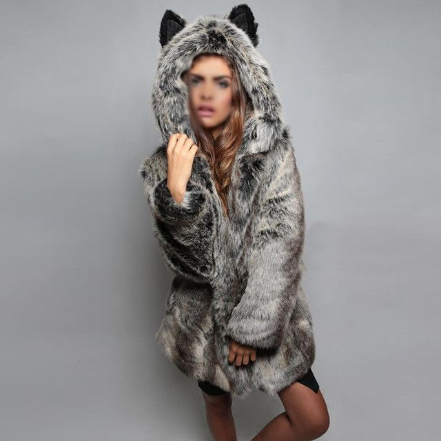 Winter Women Fur Jacket Fur Coat Female Panda Ears Hooded Women Faux Fur Coat Black Bear Panda Long Sleeve Fake Fur Coat Women