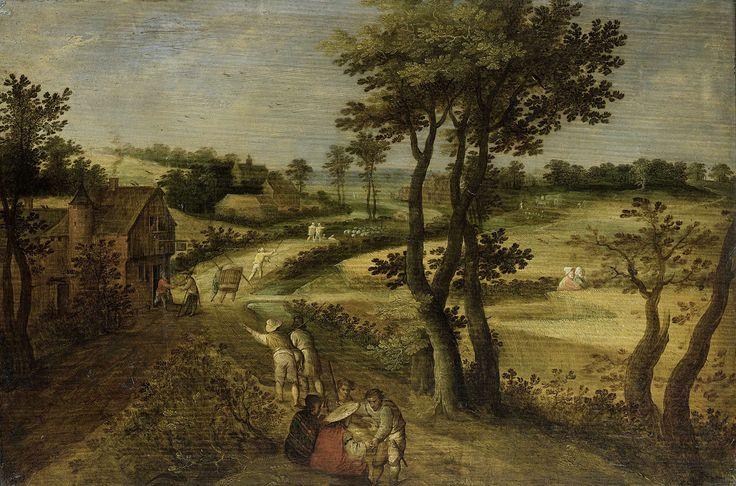 anoniem   Landscape with Corn Fields, attributed to Jacob Savery (II), 1602 - 1630   Landschap met korenvelden aan de rechterzijde van een landweg, aan de linkerkant een herberg. Over de weg gaan reizigers en een herder met schapen. Op de voorgrond twee zittende zigeunerinnen die twee boeren de hand lezen.