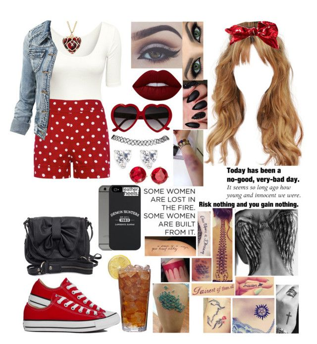 """Untitled #917"" by skh-siera18 ❤ liked on Polyvore featuring Converse, WithChic, H&M, Bellezza, Wet Seal, Disney, Lime Crime, Rules by Mary, CZ by Kenneth Jay Lane and Anne Klein"