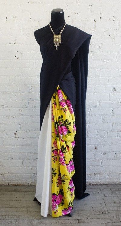 Bored In London 1987 Silk Black, White & Floral #Saree.