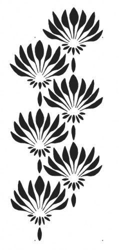 simple stencil patterns | FAN FLOWER Art Deco Pattern WALL STENCIL, Reusable EASY DIY Home Decor ...