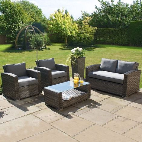 all weather 4 piece outdoor rattan garden furniture 2 seat sofa set grey