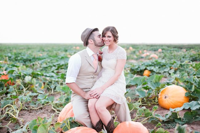 Cute! Engagement photos in a pumpkin patch. Photography: Mallory Morgan Photography - mallorymorganphotography.com  Read More: http://www.stylemepretty.com/2012/10/31/pumpkin-patch-wedding-photo-shoot-from-mallory-morgan-photography/