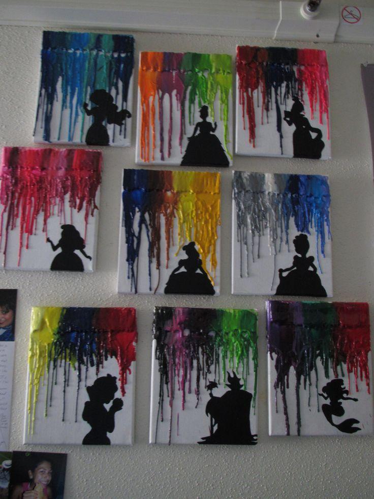 """melted crayons on canvas and a shadow figure , nice Met een föhn krijtjes vanaf de bovenkant van het canvas smelten, met zwart papier een """"schaduw"""" eronder, mooi!"""