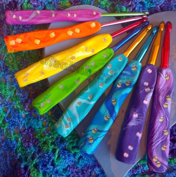 I use a 3.75 most commonly. Beautiful ergonomic crochet hooks by FleabubsbyLala on Etsy