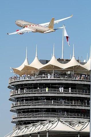 Gulf Air flyover.  Formula One World Championship, Rd 1, Bahrain Grand Prix, Race, Bahrain International Circuit, Sakhir, Bahrain