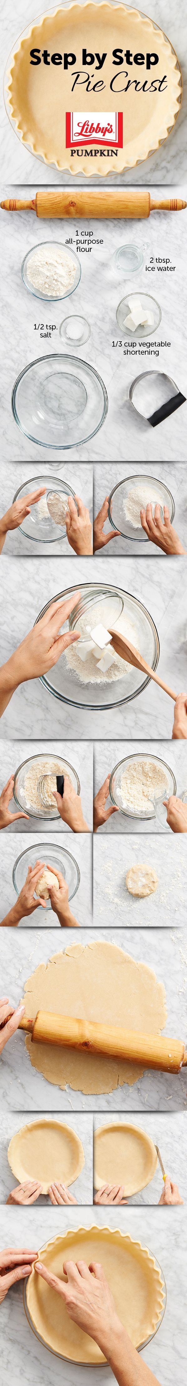 This Homemade Pie Crust #Recipe is a no-fail recipe made easily with ingredients usually found in most kitchens. Be sure to use cold water and keep well-wrapped until ready to use! #Thanksgiving #Baking https://www.verybestbaking.com/recipes/28518/homemade-pie-crust-recipe/?keywords=pie+crust&crlt.pid=camp.WHtHkxZAfKx7