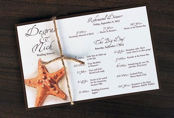 Wedding Gift Bag Itinerary : ... Wedding Itinerary Schedule- Customize Destination weddings, Starfish